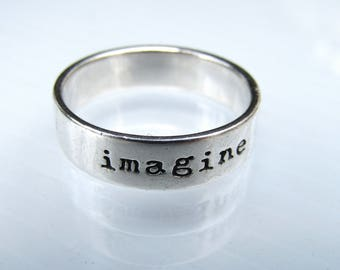 Sterling Silver Statement Band Ring • Etched Silver Ring • Imagine Believe Achieve • Size 9