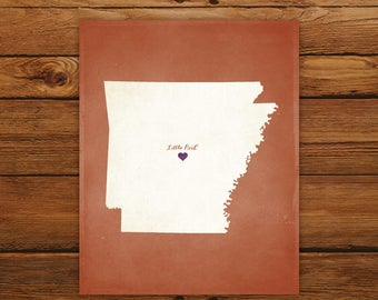 Customized Arkansas State Art Print, State Map, Heart, Silhouette, Aged-Look Personalized Print