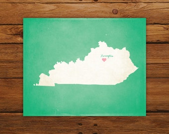 Customized Printable Kentucky State Map - DIGITAL FILE, Aged-Look Personalized Wall Art
