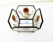 Vintage Glass Brass Box, Glass Basket, Footed Bowl, Dried Flower Decor