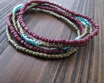Beaded Bracelet, Crystal Bracelet, Bohemian Bracelet, Stackable Bracelet, Boho, Spiritual, Yoga, Adjustable, Stretch