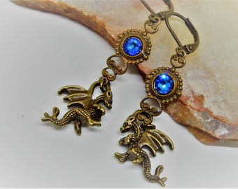 Dragon Earrings, Brass Dragon Earrings, Flying Dragons, Cobalt Dragon, Dragon Jewelry, Blue Dragon