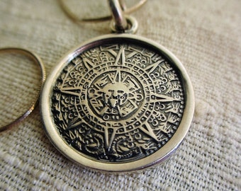 Vintage Mexican Sterling Mayan Calendar Choker Necklace Silver  Chain