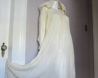70's Vintage White Gauze Hippie Dress w/Hood rare sm/med