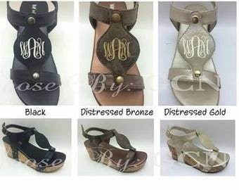 Monogrammed Disc Wedge Sandal