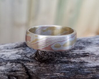 Solid mokume gane wood grain light weight unique unisex ring