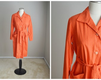 vintage orange cotton house day shift pockets dress with belt-- womens medium