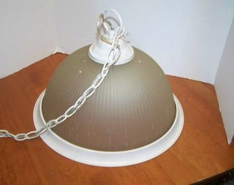 Vintage industrial hanging light, ribbed glass, removeable metal ring