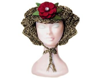 AMY - Hat crochet - Pure Cotton - Felt flower