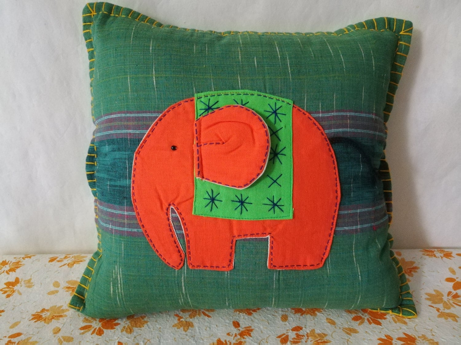 Patchwork Elephant Pillow cover Quilted Throw Pillow 15X15