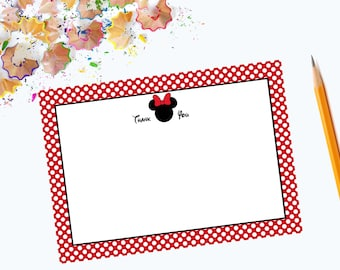 Minnie Mouse Flat Thank You Note