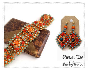 Beading Pattern and Instructions Handmade Jewelry Tutorials Right Angle Weave Small Square Tiles Bracelet Beadweaving Pattern PERSIAN TILES