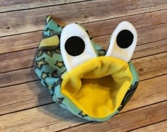 Small Hedgehog Bag Fleece Snake Monster Stay Open Pouch Bed / Bonding Cuddle Sack for a guinea pig, hedgehog, rat, ferret - Ready to Ship