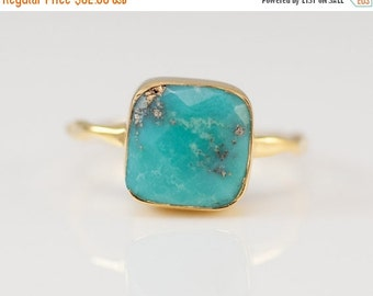 SALE - Turquoise Ring Ring - December Birthstone Ring - Gem Ring - Solitaire Ring - Gold Ring - Stackable Ring