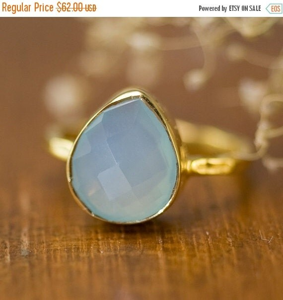 FLASH SALE - Aqua Blue Chalcedony Ring - Solitaire Ring - Sea Foam Green Stone Ring - Tear Drop Ring - Stacking Ring - Gold Ring -