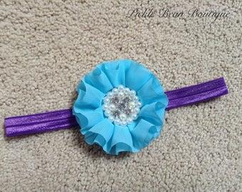 Purple Turquoise Headband, Flower Headband, Baby Girls Headband, Light Blue Headband, Birthday Headband, Purple Head Band