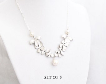 Discounted Set of 3 Handmade Wild Orchid Necklaces, White Freshwater Pearl, Sterling Silver Chain, Bridesmaid Gift