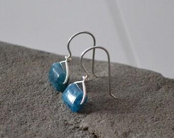 Blue Apatite Earrings, Blue Stone Earrings, Hanger Earring, Ocean Blue Jewelry
