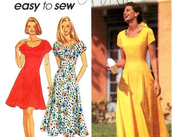 Sz  12/16 - Simplicity Pattern 8345 - Misses' Short Sleeve Fit and Flare Dress in Two Lengths - Easy to Sew