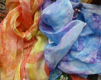 SPRING Collection - Fine Pongé Silk Hair Bandana, Long Narrow Silk Scarf - Inspired by 1960s Revolution Exhibition at V&A London