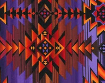 Timeless Treasures Southwest Aztec Sunset Geometric Stripe premium cotton Fabric - indian, native american,