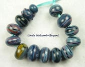 Lampwork Glass Bead Set of Mixed Blue Beads- 14