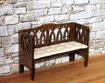 Cushioned Gothic Bench, Medieval Dollhouse Miniature, 1/24 Scale Size, Hand Made