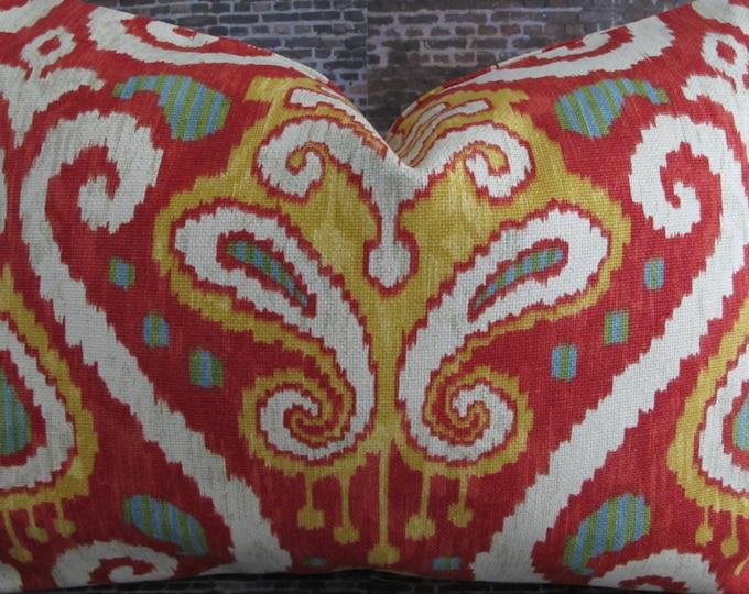 Designer Lumbar Pillow Cover 14 x 20 - FSVL Ikat Red Multi