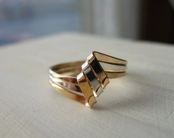 Ribbon Ring 925 Sterling Silver Gold Filled
