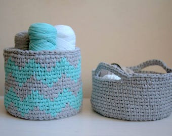 CROCHET PATTERN chevron basket, knit look  storage bin,  geometric home decor,  DIY, Instant download