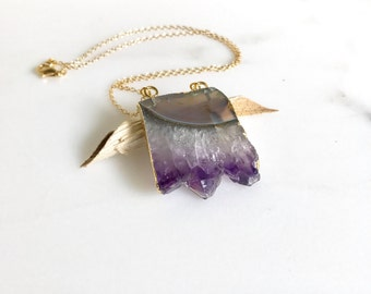 Amethyst Slice Crystal Necklace. Geode Necklace. Druzy Jewelry. Natural Crystal Necklace. Amethyst Necklace.  Simple Geode Necklace. Gift.