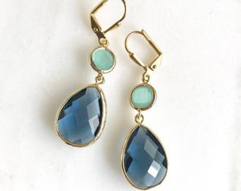 Navy and Aqua Blue Dangle Earrings. Bridesmaids Gift. Wedding Jewelry. Navy Mint Earrings. Drop Earrings. Gold Earrings. Gift for Her.