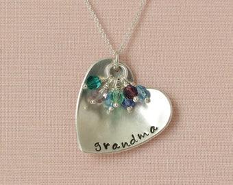 Custom Hand Stamped Sterling Silver with Swarovski Birthstone Crystal Necklace- Grandchildren Necklace, Grandma Mom Mother Jewelry
