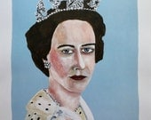 "ART PRINT signed limited edition of original painting 11"" x 14"" // Queen Elizabeth no. 4 // portrait painting // illustration on paper"