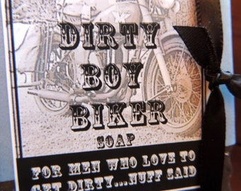 MENS SOAP - Bar Style Soap, Dirty Boy Biker Soap, For Men, For Him, Guy Soap, Dad Soap, Novelty Soap, Stamped, Innuendo Fun Dirty Boy Soap
