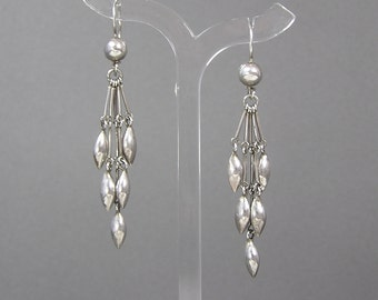 Native American Sterling Bead Earrings, Dangles, Bench Bead, Rice Grain Shape, Vintage Jewelry