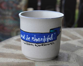 """William Wordsworth """"Rest and be thankful"""" Small, vintage, hand painted mug - Cream, blue with flowers - Romantic Poet - Literary"""