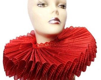 Ruffled Collar Red Shimmer Huge Elizabethan Neck Ruff Victorian Clown Steampunk