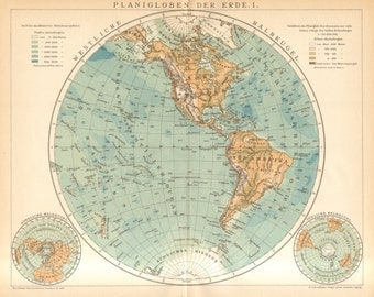 1896 Antique Map of the Western Hemisphere of the Earth, South and North America