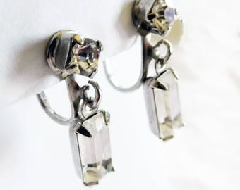 Vintage Clear Rhinestone Earrings Baguette Dangles Stylish Bride Brilliant Sparkle