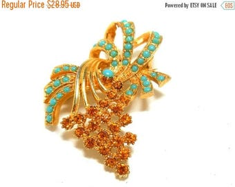 CLEARANCE SALE Turquoise & Yellow Brooch Vintage Rhinestones Bunch of Grapes Convertible