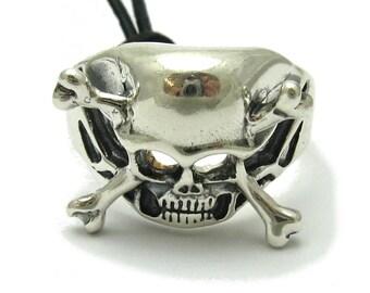 Sterling silver ring solid 925 skull crossbones biker pendant