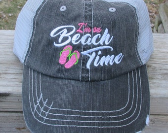 I'm On Beach Time  with Flip Flops Embroiderd Hat