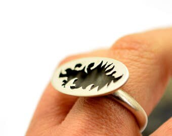 Oblong modern ring sterling silver black oxidized ring silver matte finish statement ring, orb ring handmade cutout tribal, gift for her