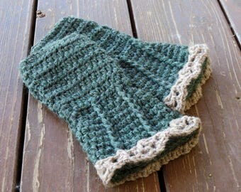 Cozy Crocheted Woodland Fingerless Gloves, Arm Warmers, Wristers in Forest Green and Tan, Spiral Flared Cuffs with Lace Trim