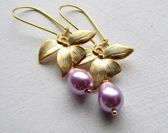 Lavender Pearl Earrings Pearl Drop Earrings Gold Pearl Earrings Pearl Dangle Earrings Bridal Jewelry Bridesmaids Earrings Wedding Jewelry