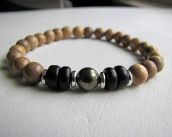 Men's Bracelet Men's Stretch Bracelet Pyrite Bracelet Wood Bracelet Boho Stretch Bracelet Eco Friendly Men's Jewelry Wood Beaded Bracelet