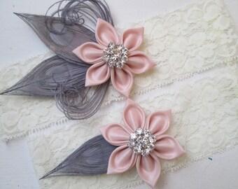 Blush & Gray Wedding Garter Set, Dusty Pink Garters, Rustic Garter, Ivory Lace Bridal Garter, Silver Peacock Garter, Country- Gatsby Bride