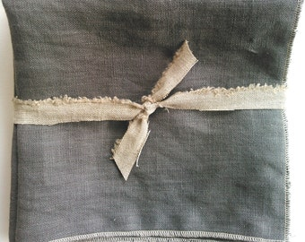 Grey Linen Napkins, 14 inch napkins, 100% linen