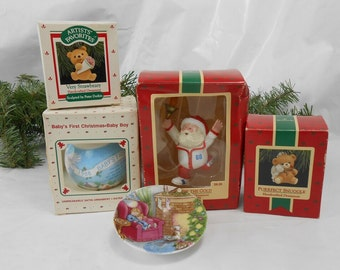 Vintage Hallmark Christmas Ornaments 1988 collection Very Strabeary babys First Christmas Go For The Gold Purrfect Snuggle Waiting for Santa